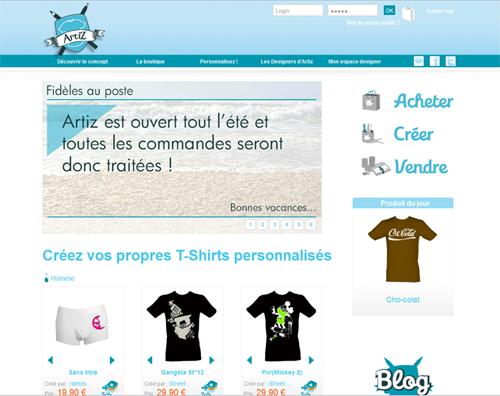Site internet Artiz - T Shirts personnalisés